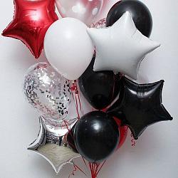 Набор фольгированных шаров звезда белые черные