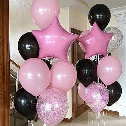Набор воздушных шаров с розовым и черным