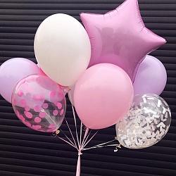 Набор воздушных шаров с розовой звездой