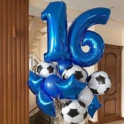 Набор фольгированных воздушных шаров с синей звездой и цифрой