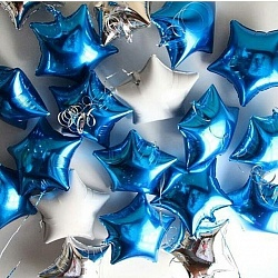 Набор воздушных фольгированных шаров с синим цветом