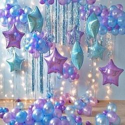 Набор фольгированных шаров с сиренвым цветом
