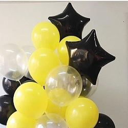 Набор фольгированных шаров с черными звездами