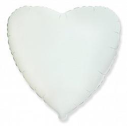 Шар фольгированный сердце цвета белый