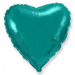 Шар фольгированный сердце цвета бирюза