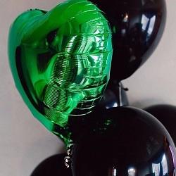 Набор шаров с фольгированным сердцем зеленым