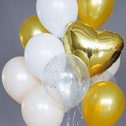 Набор фольгированных шаров сердец золотых