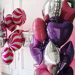 Набор шаров с фиолетовым сердцем