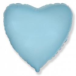 Шар фольгированный сердце цвета голубой