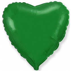 Шар фольгированный сердце цвета зеленый