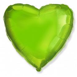 Шар фольгированный сердце цвета лайм