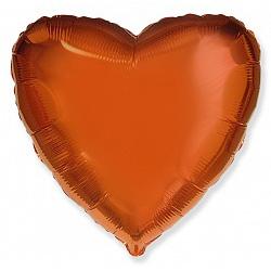 Шар фольгированный сердце цвета оранжевый
