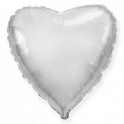 Шар фольгированный сердце цвета серебро
