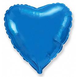 Шар фольгированный сердце цвета синий