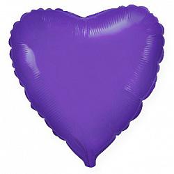 Шар фольгированный сердце цвета фиолетовый