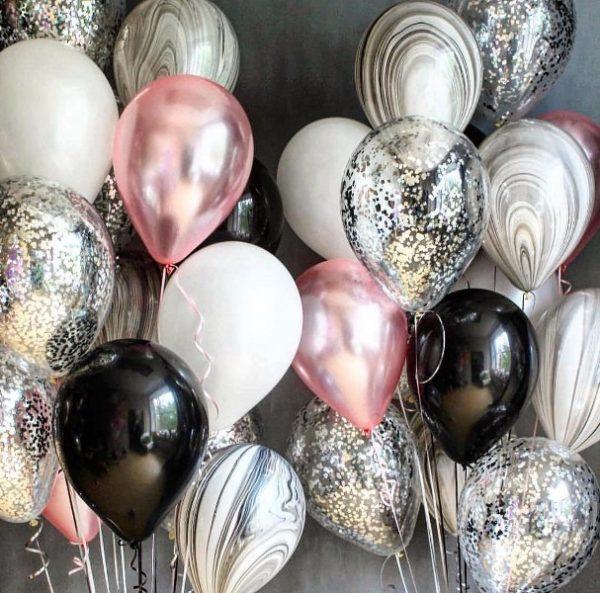 Воздушные шары с гелием мужчинам и женщинам, на день рождения микс фейерверк