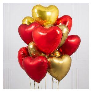 Связка шаров сердец Love is