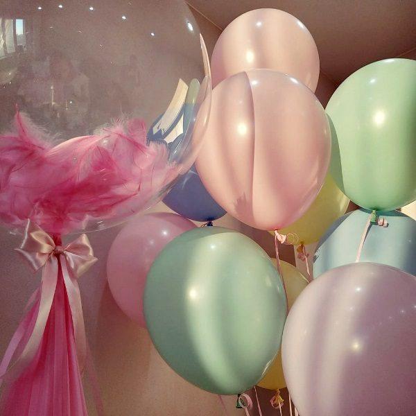 Микс воздушных шаров с гелием маршмеллоу пастель
