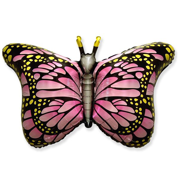 Фольгированный-шар-бабочка-монарх-розовый