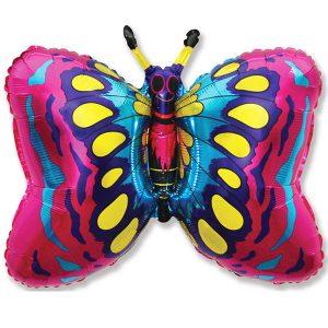Фольгированный-шар-бабочка-фуксия
