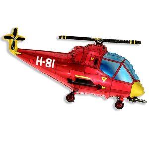 Фольгированный-шар-вертолет-красный