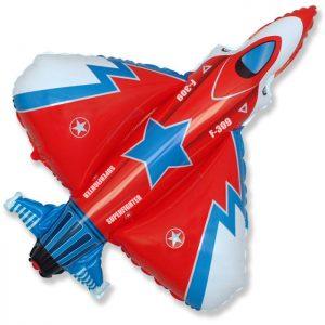 Фольгированный-шар-истребитель-красный