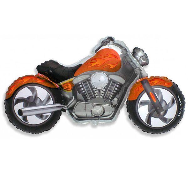 Фольгированный-шар-мотоцикл-оранжевый