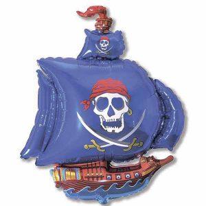 Фольгированный-шар-пиратский-корабль-синий