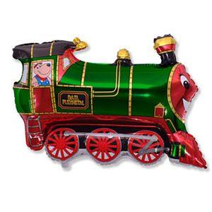 Фольгированный-шар-поезд-зеленый