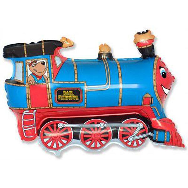 Фольгированный-шар-поезд-синий