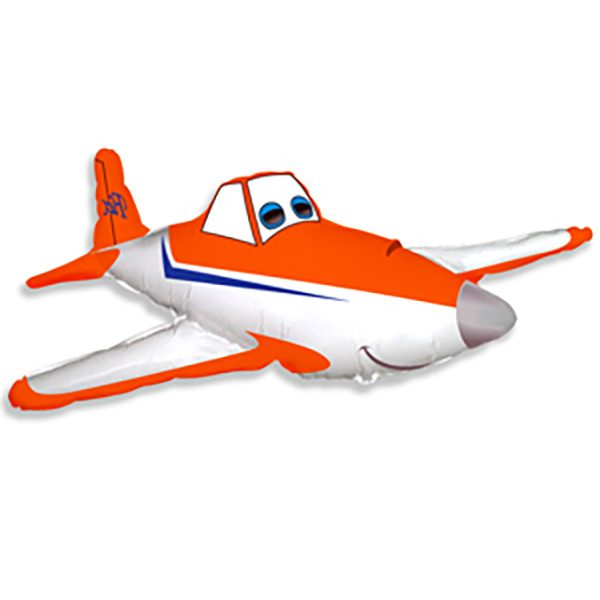 Фольгированный-шар-самолет-гоночный-оранжевый