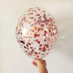 Шар-с-конфетти-круги-1,5см-розовое-золото