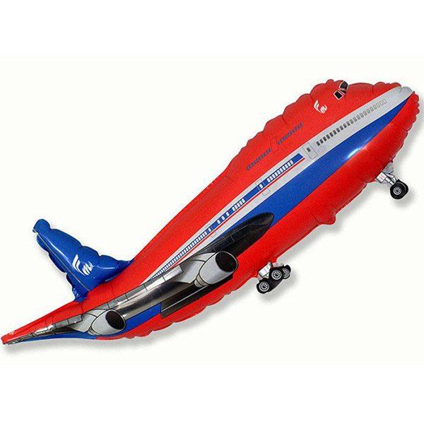 Фольгированный-шар-самолет-красный