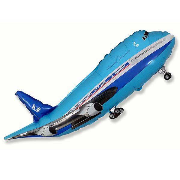 Фольгированный-шар-самолет-синий