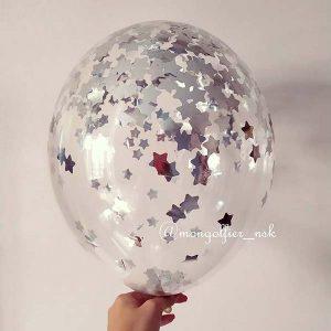 Шар-с-конфетти-звезда-1см-серебро
