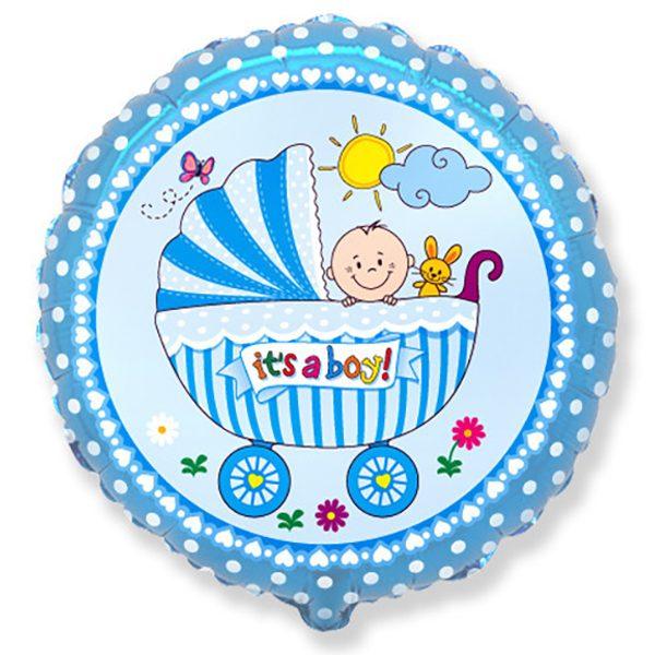 Фольгированный-шар-коляска-мальчик