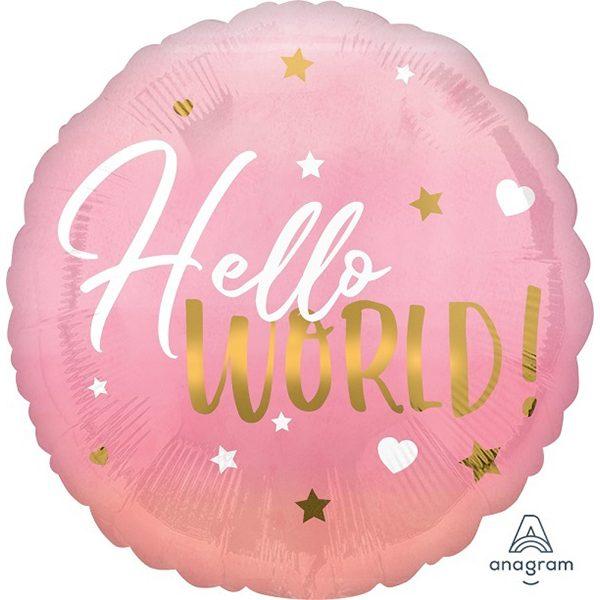 Фольгированный-шар-привет-мир-розовый