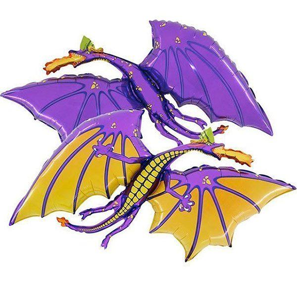 Воздушный-шар-черный-маленький-дракон-фиолетовый