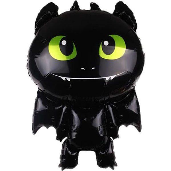 Воздушный-шар-черный-маленький-дракон